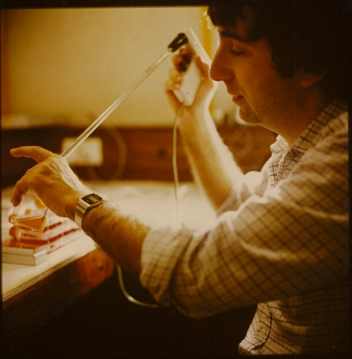 Photograph of Herman Waldman in 1970s working in the laboratory