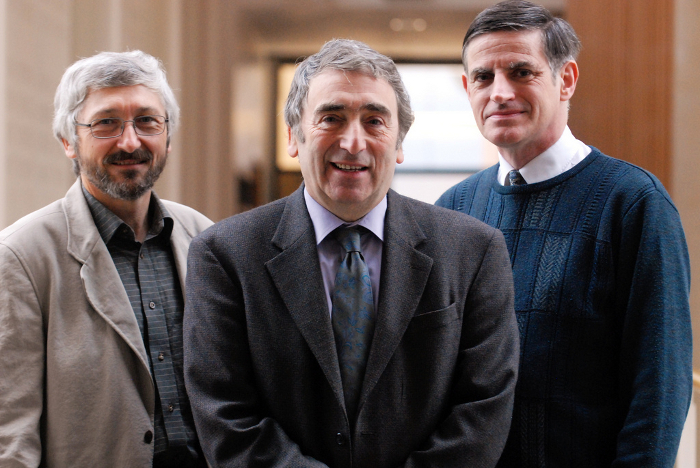 Photograph of Herman Waldman (centre) with two of his key alemtuzumab collaborators Michael Clark and Geoff Hale